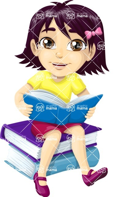 School vector graphics pack - editable schoolboy, schoolgirl, pupil, teacher characters, items, icons, illustrations, backgrounds, scenes - School Girl Sitting on Books