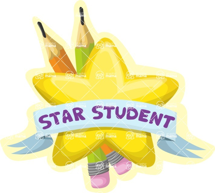 School vector graphics pack - editable schoolboy, schoolgirl, pupil, teacher characters, items, icons, illustrations, backgrounds, scenes - Star Student Sticker