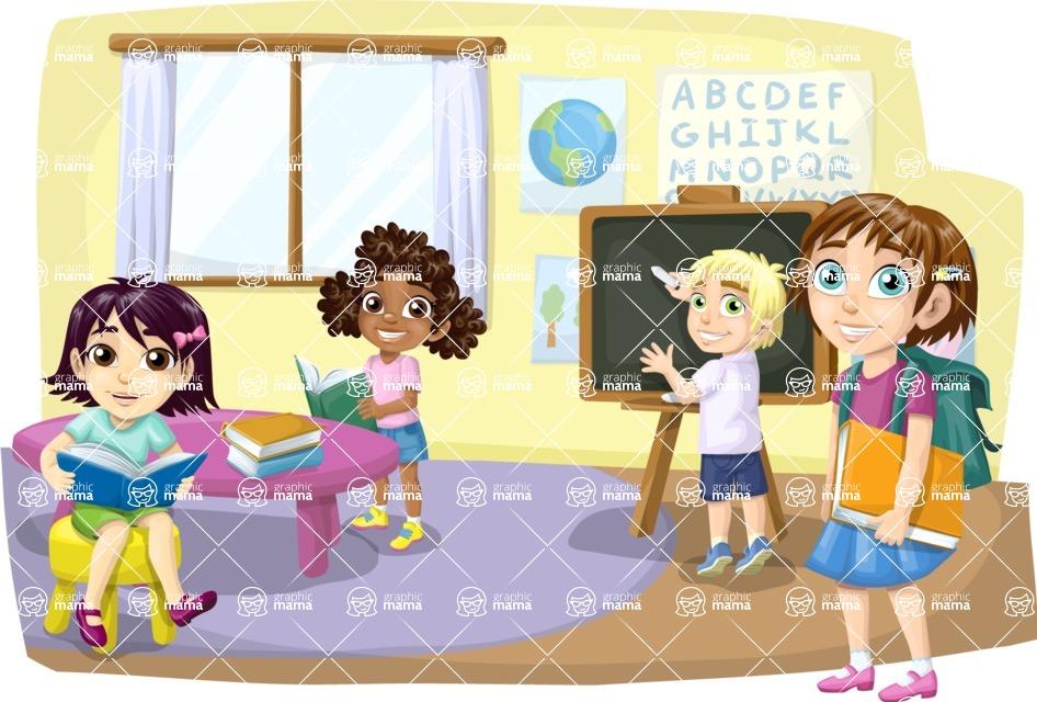 School vector graphics pack - editable schoolboy, schoolgirl, pupil, teacher characters, items, icons, illustrations, backgrounds, scenes - Pupils in Elementary Classroom