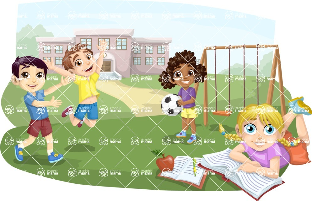 School vector graphics pack - editable schoolboy, schoolgirl, pupil, teacher characters, items, icons, illustrations, backgrounds, scenes - Students at the School Playground