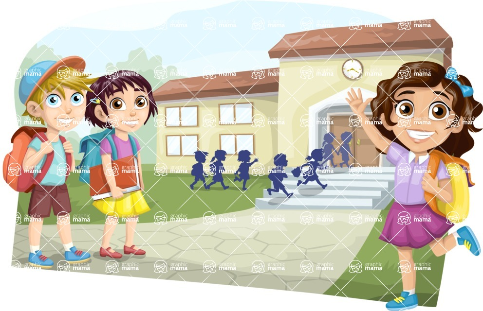 School vector graphics pack - editable schoolboy, schoolgirl, pupil, teacher characters, items, icons, illustrations, backgrounds, scenes - Students on the Way to School