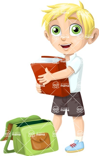 School vector graphics pack - editable schoolboy, schoolgirl, pupil, teacher characters, items, icons, illustrations, backgrounds, scenes - Student Putting a Book in His Bag