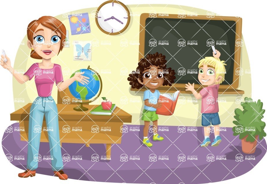 School vector graphics pack - editable schoolboy, schoolgirl, pupil, teacher characters, items, icons, illustrations, backgrounds, scenes - Teacher and Kids at the Blackboard