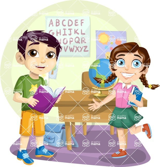 School vector graphics pack - editable schoolboy, schoolgirl, pupil, teacher characters, items, icons, illustrations, backgrounds, scenes - Kids in School Scene