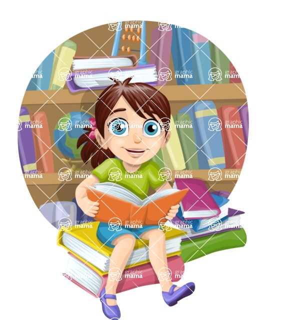 School vector graphics pack - editable schoolboy, schoolgirl, pupil, teacher characters, items, icons, illustrations, backgrounds, scenes - School Girl With Books Scene