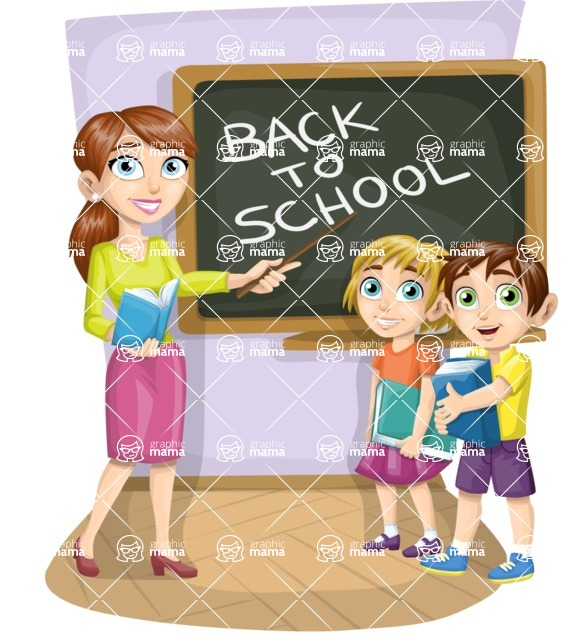 School vector graphics pack - editable schoolboy, schoolgirl, pupil, teacher characters, items, icons, illustrations, backgrounds, scenes - Teacher and School Kids
