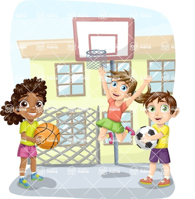 School vector graphics pack - editable schoolboy, schoolgirl, pupil, teacher characters, items, icons, illustrations, backgrounds, scenes - Basketball in the School Yard