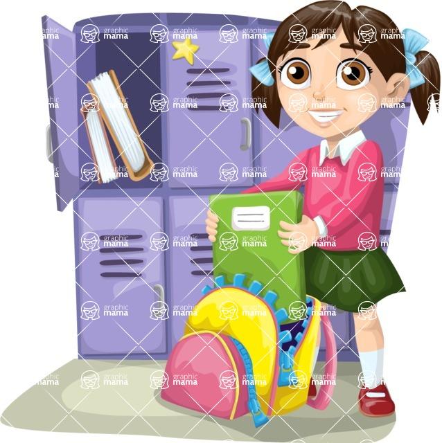 School vector graphics pack - editable schoolboy, schoolgirl, pupil, teacher characters, items, icons, illustrations, backgrounds, scenes - School Girl Next to Lockers