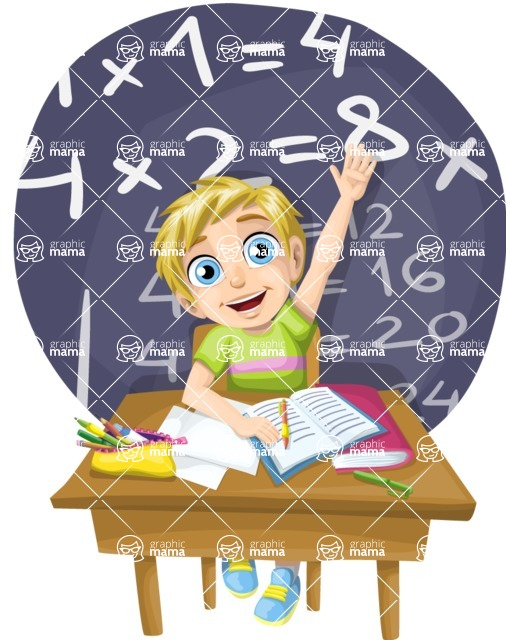 School vector graphics pack - editable schoolboy, schoolgirl, pupil, teacher characters, items, icons, illustrations, backgrounds, scenes - School Boy Raising a Hand