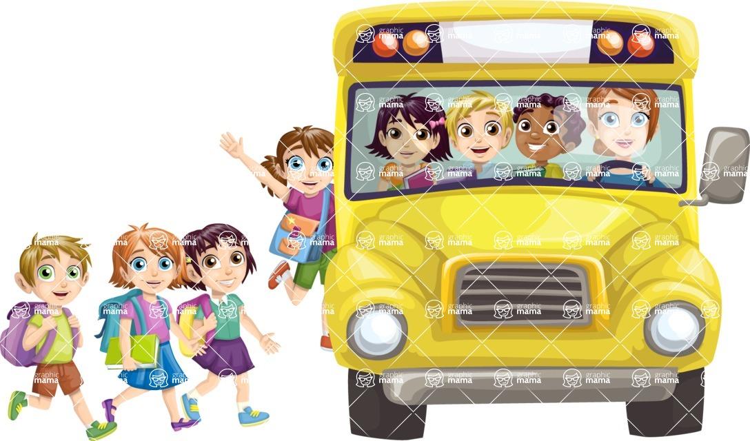 School vector graphics pack - editable schoolboy, schoolgirl, pupil, teacher characters, items, icons, illustrations, backgrounds, scenes - Students Getting in School Bus