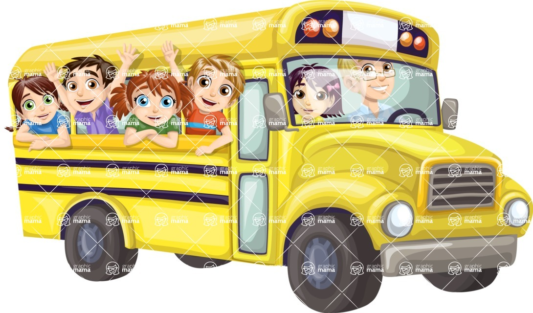 School vector graphics pack - editable schoolboy, schoolgirl, pupil, teacher characters, items, icons, illustrations, backgrounds, scenes - Kids Waving from Yellow Bus