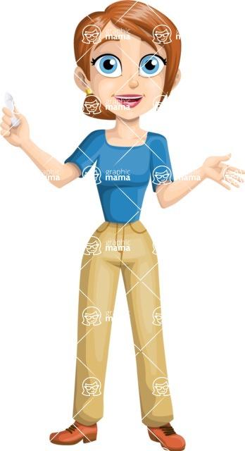 School vector graphics pack - editable schoolboy, schoolgirl, pupil, teacher characters, items, icons, illustrations, backgrounds, scenes - Teacher Holding a Chalk