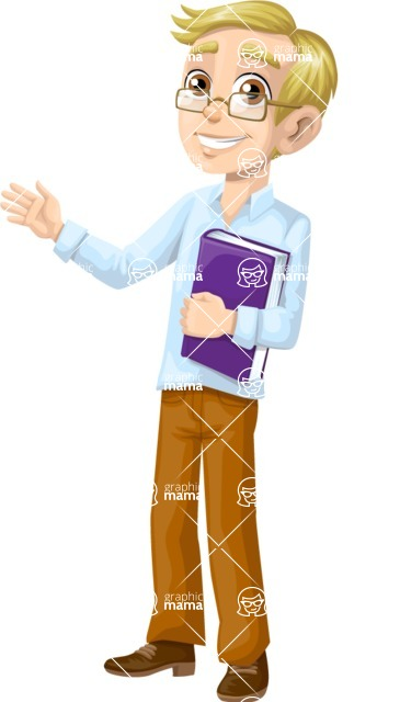 School vector graphics pack - editable schoolboy, schoolgirl, pupil, teacher characters, items, icons, illustrations, backgrounds, scenes - Teacher with a Textbook