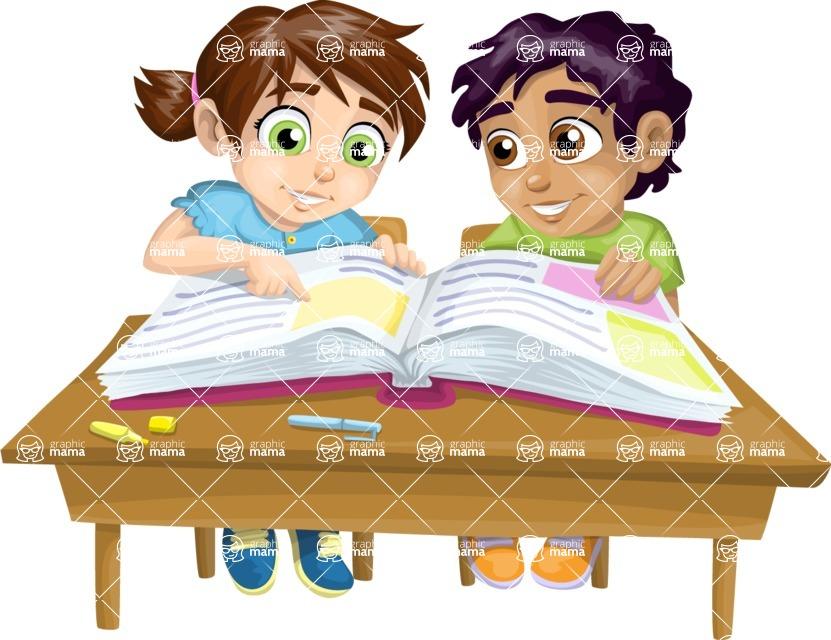 School vector graphics pack - editable schoolboy, schoolgirl, pupil, teacher characters, items, icons, illustrations, backgrounds, scenes - Pupils at a School Desk