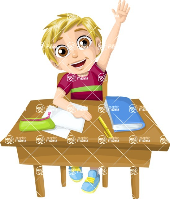 School vector graphics pack - editable schoolboy, schoolgirl, pupil, teacher characters, items, icons, illustrations, backgrounds, scenes - Pupil Raising His Hand
