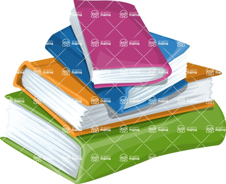 School vector graphics pack - editable schoolboy, schoolgirl, pupil, teacher characters, items, icons, illustrations, backgrounds, scenes - Stack of Books