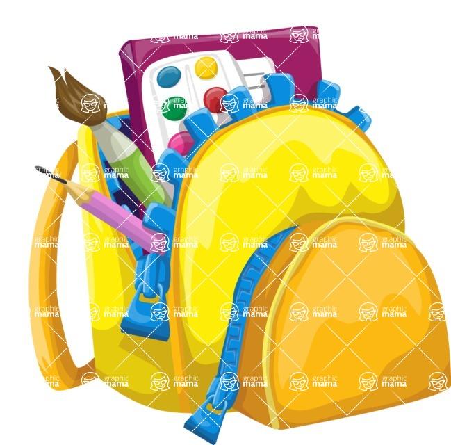 School vector graphics pack - editable schoolboy, schoolgirl, pupil, teacher characters, items, icons, illustrations, backgrounds, scenes - Backpack with Art School Tools