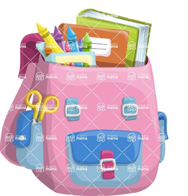 School vector graphics pack - editable schoolboy, schoolgirl, pupil, teacher characters, items, icons, illustrations, backgrounds, scenes - School Backpack for Girls
