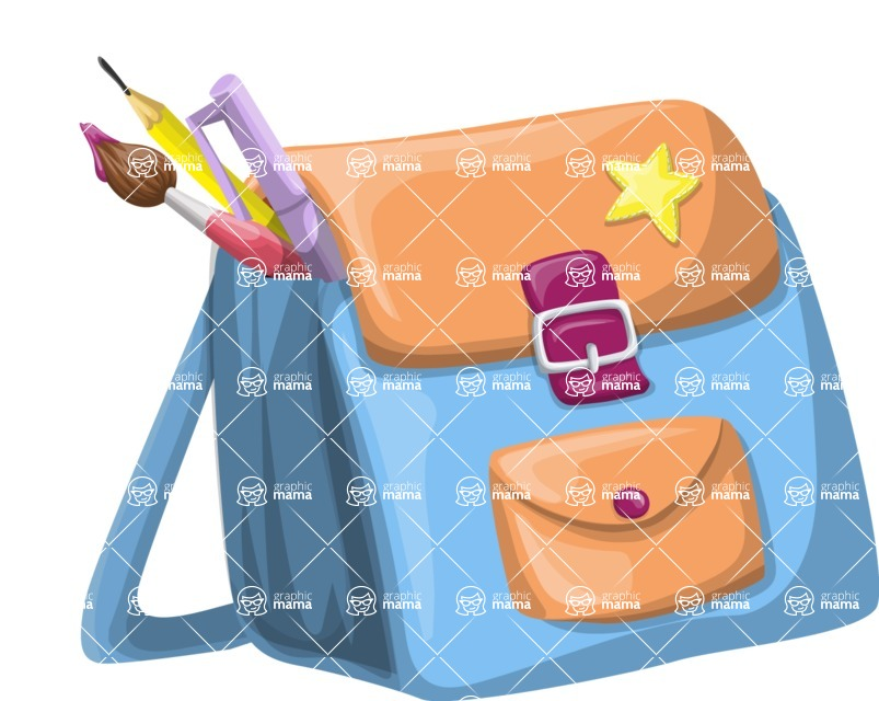 School vector graphics pack - editable schoolboy, schoolgirl, pupil, teacher characters, items, icons, illustrations, backgrounds, scenes - School Bag with a Sticker