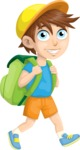 School vector graphics pack - editable schoolboy, schoolgirl, pupil, teacher characters, items, icons, illustrations, backgrounds, scenes - School Boy with a Backpack