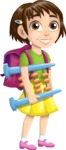 School vector graphics pack - editable schoolboy, schoolgirl, pupil, teacher characters, items, icons, illustrations, backgrounds, scenes - Student with Abacus