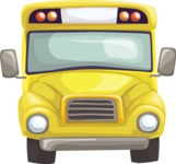 School vector graphics pack - editable schoolboy, schoolgirl, pupil, teacher characters, items, icons, illustrations, backgrounds, scenes - Yellow School Bus 1