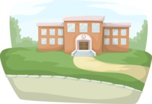School vector graphics pack - editable schoolboy, schoolgirl, pupil, teacher characters, items, icons, illustrations, backgrounds, scenes - Outside School Scenery