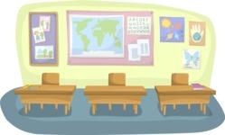 School vector graphics pack - editable schoolboy, schoolgirl, pupil, teacher characters, items, icons, illustrations, backgrounds, scenes - Classroom with Student Desks