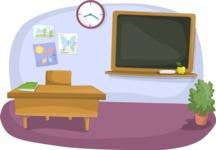 School vector graphics pack - editable schoolboy, schoolgirl, pupil, teacher characters, items, icons, illustrations, backgrounds, scenes - Classroom with Teacher's Desk