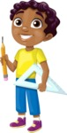 School vector graphics pack - editable schoolboy, schoolgirl, pupil, teacher characters, items, icons, illustrations, backgrounds, scenes - Student with a Triangle Ruler