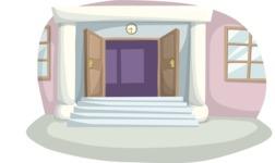 School vector graphics pack - editable schoolboy, schoolgirl, pupil, teacher characters, items, icons, illustrations, backgrounds, scenes - School Gate