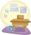 School vector graphics pack - editable schoolboy, schoolgirl, pupil, teacher characters, items, icons, illustrations, backgrounds, scenes - School Desk in a Classroom