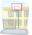 School vector graphics pack - editable schoolboy, schoolgirl, pupil, teacher characters, items, icons, illustrations, backgrounds, scenes - School Yard Basketball