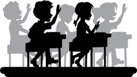 School vector graphics pack - editable schoolboy, schoolgirl, pupil, teacher characters, items, icons, illustrations, backgrounds, scenes - Students in Class Silhouette