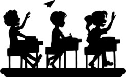 School vector graphics pack - editable schoolboy, schoolgirl, pupil, teacher characters, items, icons, illustrations, backgrounds, scenes - pupils in class-silhouette vector graphic