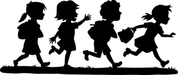 School vector graphics pack - editable schoolboy, schoolgirl, pupil, teacher characters, items, icons, illustrations, backgrounds, scenes - Running Students Silhouette