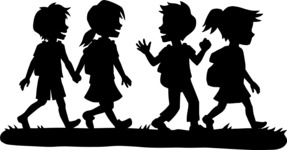 School vector graphics pack - editable schoolboy, schoolgirl, pupil, teacher characters, items, icons, illustrations, backgrounds, scenes - pupils walking silhouettes