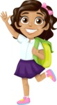 School vector graphics pack - editable schoolboy, schoolgirl, pupil, teacher characters, items, icons, illustrations, backgrounds, scenes - School Girl Waving