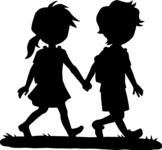 School vector graphics pack - editable schoolboy, schoolgirl, pupil, teacher characters, items, icons, illustrations, backgrounds, scenes - Students Holding Hands