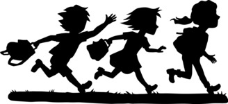 School vector graphics pack - editable schoolboy, schoolgirl, pupil, teacher characters, items, icons, illustrations, backgrounds, scenes - Students in a Hurry Silhouette