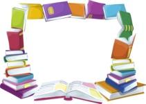 School vector graphics pack - editable schoolboy, schoolgirl, pupil, teacher characters, items, icons, illustrations, backgrounds, scenes - School Books Frame