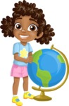 School vector graphics pack - editable schoolboy, schoolgirl, pupil, teacher characters, items, icons, illustrations, backgrounds, scenes - School Girl with a Globe