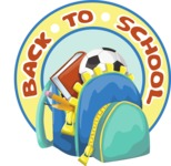 School vector graphics pack - editable schoolboy, schoolgirl, pupil, teacher characters, items, icons, illustrations, backgrounds, scenes - Sticker with Boy Backpack