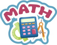 School vector graphics pack - editable schoolboy, schoolgirl, pupil, teacher characters, items, icons, illustrations, backgrounds, scenes - Math School Sticker
