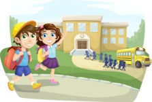 School vector graphics pack - editable schoolboy, schoolgirl, pupil, teacher characters, items, icons, illustrations, backgrounds, scenes - Kids Going to School Scene