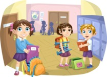 School vector graphics pack - editable schoolboy, schoolgirl, pupil, teacher characters, items, icons, illustrations, backgrounds, scenes - Students in School Hallway