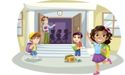 School vector graphics pack - editable schoolboy, schoolgirl, pupil, teacher characters, items, icons, illustrations, backgrounds, scenes - Students at the School Gate