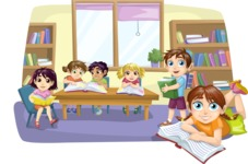School vector graphics pack - editable schoolboy, schoolgirl, pupil, teacher characters, items, icons, illustrations, backgrounds, scenes - Students in the School Library