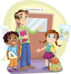 School vector graphics pack - editable schoolboy, schoolgirl, pupil, teacher characters, items, icons, illustrations, backgrounds, scenes - In Front of the Classroom Scene