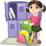 School vector graphics pack - editable schoolboy, schoolgirl, pupil, teacher characters, items, icons, illustrations, backgrounds, scenes - School Girl Next to Lockers